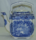 Antique Blue Mason's Vista Tea Kettle Top Handle Square Teapot  w/ Lid Ironstone