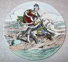 Creil et Montereau French Faience Plate Victorian Ladies Beach Lobster Majolica