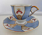 Vtg UCAGCO Tea Cup & Saucer Set Demitasse Coffee Gold Delicate Small Blue Line