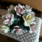 Large vintage porcelain  floral basket center. Piece made in Italy