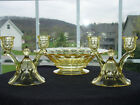 wow Heisey Sahara Thumbprint Console Bowl Double Bell Candle Holder SET NR