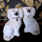 PAIR OF STAFFORDSHIRE CERAMIC & PORCELAIN POODLES VICTORIAN AND 1900-1940
