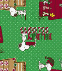 PEANUTS SNOOPY HOLIDAY DELIGHTS 100%  COTTON FLANNEL FABRIC BY THE 1/2 YARD
