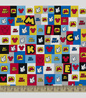 DISNEY MICKEY MOUSE SET PATCH 100% COTTON FLANNEL FABRIC BY THE 1/2  YARD