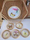 VINTAGE BAMBOO TRAY & 5 COASTERS - BUTTERFLIES - MADE IN JAPAN