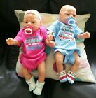 Vintage Anatomically Correct Twin Baby Dolls Reborn Baby Boy and Girl w pacifier