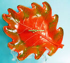 California Pottery 803 Leaf Shaped Serving Dish Orange Green Mid Century Vintage