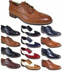 Parrazo Men Dress Shoes Wingtip Oxford Leather Lined Lace Up Black Brown Wooden
