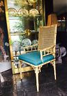 Faux bamboo vintage Cane Chinese Chippendale dining Chairs Hollywood Regency