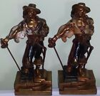 Pirates Bronze Clad Bookends Circa 1930's Armor Bronze Co 10.5