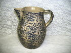 PITCHER SPONGEWARE BLUE ON TAN ROSEVILLE POTTERY USA