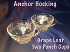2 GRAPE LEAF GLASS CUPS Anchor Hocking Snack Punch Replacements glasses Tea