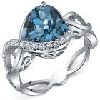 300 cts Heart Shape London Blue Topaz Ring Sterling Silver