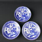 3 Vintage Blue Willow Saucers