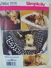 SEW PATTERN Simplicity 2984 Large Small Dog Travel Accessories Car Seat Cover