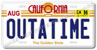 Back to the Future Delorean OUTATIME Prop Replica Aluminum License Plate Tag