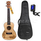 Solid Spruce concert ukulele Hawaii guitar 24 inch w bag  JOYO digital tuner