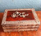 Antique Brass Rose Jewelry Trinket Box Books 1950's Japan Red Top Velvet Lined