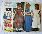 Pattern Little Vogue 1326 Vintage Dress w Pinafore Size 3 Sewing various styles