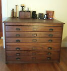 Large Antique Oak Map Architect File Chest 6 Drawer 2 Section