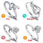 Chic Creative  Silver 12 Constellations Zodiac Sign Opening Adjustable Rings