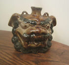vintage hand painted asian foo dog lion stoneware pottery jug canteen bottle pot