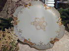 Hand Painted Powder Blue Vintage Porcelain Floral Cake Plate Stand Gold Accents