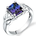 275 cts Radiant Cut Alexandrite Ring Sterling Silver Size 5 to 9