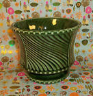 Vintage FLORALINE MCCOY POTTERY Dark Green Footed Planter 410  -P5-