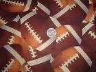 BROTHER SISTER STUDIOS~2007~LARGE PRINT FOOTBALLS~COTTON FABRIC~1/2 YD~GO TEAM!