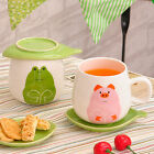 Creative Ceramic Porcelain Cat Frog Pig Fashion Mug Cup with Leaf Shape Saucer