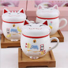 Ceramic Fortune Cat Lucky Mug Coffee Milk Tea Cup with Lid