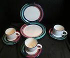 Crate & Barrel Martinique 10 Piece 3 Dinner Plates 3 Cups 4 Saucers Italy