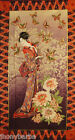 JAPANESE GEISHA TEA HOUSE BUTTERFLY QUILT PANEL WALL BANNER - 100% COTTON FABRIC