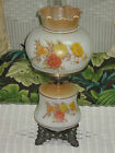 Vintage Antique Gone with the Wind Hurricane Parlor Table Lamp Rose Pattern