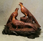 ANTIQUE signed japanese pheasant stone carving netsuke bird statue vtg art