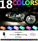 14pc 84LED NEON Accent Underglow Engine Pod Light Kit For All Harley Motorcycles