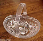 Vintage Mikasa Crystal Basket Diamond Pattern with Ribbed Edge Plastic Handle