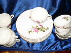Vintage Rare Oversized Saucers with Cups from Japan China Moss Rose Pattern
