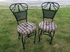 Pair Vtg Italian Hollywood Regency Rope Tassel Iron Side Chairs With New Cushion