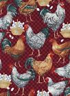Quilt Fabric - Chickens Eggs Roosters Dark Red - Hi-Fashion Fabrics OOP- 3/4 Yd