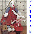 PATTERN Country Bunny Rabbit Dolls UNCUT Cloth Easter Mother Baby Daughter  Girl