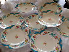 CIR. 1850'S FRENCH HAND DECORATED ENAMEL FINE CHINA DINNER SALAD PLATES