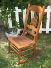 Antique Wooden Spindle Back & Pressed Fiber Board Rocking Chair Vint NO Shipping
