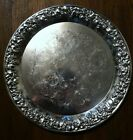 Vtg SILVER PLATE TRAY HEAVY EMBOSSED  GRAPES/LEAVES RIMS,ETCHED,SHERIDAN 15.75