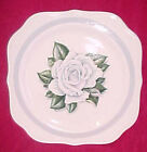 Vtg Homer Laughlin White Rose Flower Eggshell Nautilus Square Salad Plate 8