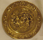 Vtg Huge Brass Decorative Wall Plate Hanging Gold Embossed Colonial Pub England