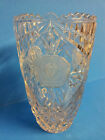Heavy Clear Crystal Glass Cut Etched Frosted Rose Saw Tooth Vase