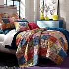 STUDIO D TWIN QUILT 2p SET PHOEBE COUNTRY PATCHWORK TEAL PINK ORANGE BLUE YELLOW