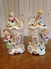2 DRESDEN STYLE HAND PAINTED THAMES JAPAN CHINA VICTORIAN COVERED VASES OR URNS